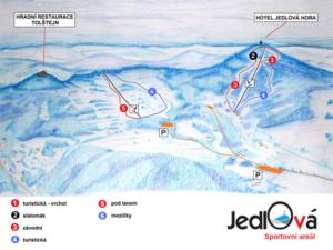 Skiareál Jedlová - mapka